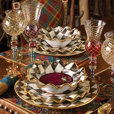 MacKenzie-Childs - Aerial Glassware, Courtly Check Ceramic Dinnerware, Highland Tartan Placemats