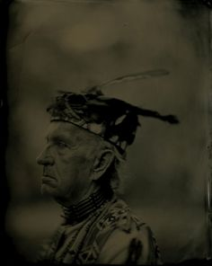 Chief of Assateague Tribe.  Wet plate collodion tintype. 2009. 8X10.  From the project, Catching Shadows: Tintype Images and Recorded voices of 21st Century Native Americans Living On Maryland's Eastern Shore.