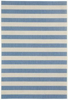 The new Finesse Stripe Rug in capri blue is an addition to the Capel Anywhere Collection #Capel_rugs