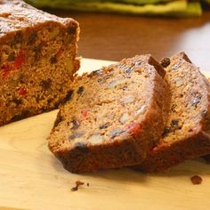 Dark and spicy applesauce-based fruit cake studded with dates, nuts, raisins and cherries baked in gift-sized mini loaves. Quick Bread Recipes, Pork Recipes, Cake Recipes, Cooking Recipes, Meatloaf Recipes, Cranberry Orange Cake, Pistachio Cake, Bowl Cake, Gateaux Cake