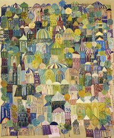 Jerusalem, 1970 (printing oils on board) - Laila Shawa als Kunstdruck oder handgemaltes Gemälde. Kitsch, Town Drawing, Naive Art, Sign Printing, Islamic Art, Beautiful Artwork, Pattern Art, Decoration, Oeuvre D'art