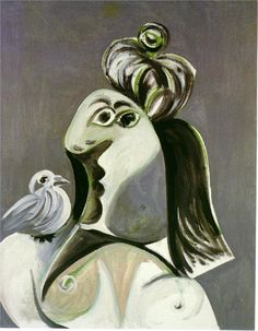 Woman with bird - Pablo Picasso - - - Cubism, 1970 Kunst Picasso, Picasso Art, Picasso Paintings, Picasso Drawing, Spanish Painters, Spanish Artists, Georg Christoph Lichtenberg, Cubist Portraits, Georges Braque