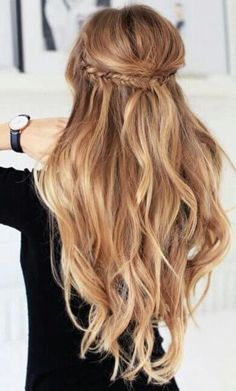 Combination of braids and pretty long waves is perfect for everyday wear - working hours, cocktail parties or other casual events. #wavyhair #hairstyle