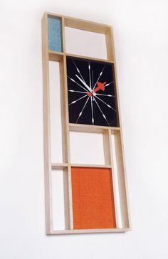 Mid Century Modern Art Mondrian Clock Eames Era Tiki 60's Retro Danish Modern Nelson Mad Men