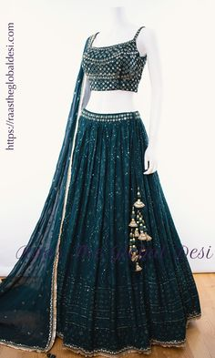 green lehenga choli Give yourself a versatile look by wearing this georgette lehenga choli featuring lucknowi work lehenga and hand work blouse Indian Fashion Dresses, Party Wear Indian Dresses, Indian Gowns Dresses, Indian Bridal Outfits, Dress Indian Style, Party Wear Lehenga, Indian Designer Outfits, Party Dress, Pakistani Outfits