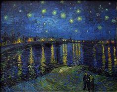 Pinturas de Van Gogh noche estrellada sobre el rodano