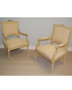 Pair of large antique open armchairs - Re upholstered (a10985)