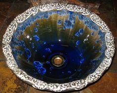 "Handmade Custom Art Noueau Floral Stamped Vessel Sink Crystalline Glazed Sink 15"" in Diameter or Less by ceramicgoddess"