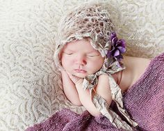 Baby Girl Hat, Newborn Crochet Hat in Light Tan, Cream with Purple Flower Earflap, Great for Photo Prop