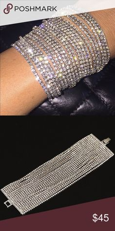 Ultra Wide Rhinestone Bracelet Over 20 Rows of Diamond Rhinestones on the Stylish Bracelet. HandMade Upon Order Please Allow Up to Two Weeks Production Time. Body Kandy Couture Jewelry Bracelets