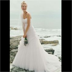 David'S Bridal Strapless Ruched Wedding Dress