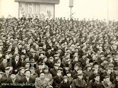 Zagłębie Sosnowiec fans watch their team play in 1966, hats, hats everywhere