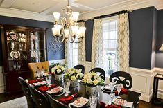 Formal Dining Room- Love the dark blue, with gold and white!  Also, the touch of red is nice!
