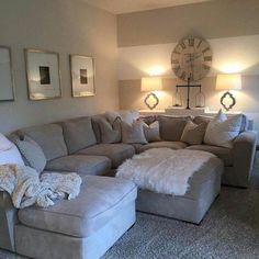 Amazing and Unique Ideas Can Change Your Life: Small Living Room Remodel Floating Shelves living room remodel ideas ikea hacks.Small Living Room Remodel Simple living room remodel before and after foyers.Living Room Remodel On A Budget Creative. Cozy Living Rooms, Home And Living, Living Room With Sectional, Gray Sectional, Apartment Living Rooms, Living Area, House Rooms, Living Room Ideas Dark Couch, Lamps For Living Room