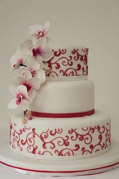 wedding cake design #wedding #cake #weddingcake #flowers #white