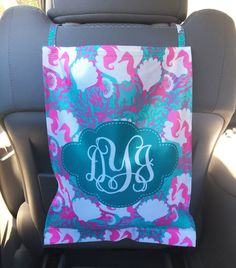 Monogrammed Car Trash Can Personalized Car Trash Bag Car Organizer Custom Lilly Inspired Preppy Cute Car Accessories For Women Car Decor by ChicMonogram on Etsy