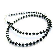 Black Swarovski crystals. Modest necklace.