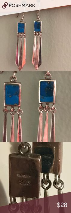 Sterling Silver Turquoise Earrings Stampes 925 Sterling Silver Jewelry Earrings