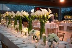 Modern + Elegant Philadelphia Performing Arts Center Wedding Modern, glamorous and full of pretty details like a bouquet of pink peonies and a pair of Valentino Rock Stud shoes, this Philadelphia wedding is as perfect as they come. Calla Lily Centerpieces, Tall Wedding Centerpieces, Gold Wedding Decorations, Modern Centerpieces, Graduation Centerpiece, Quinceanera Centerpieces, Candle Centerpieces, Wedding Tables, Calla Lily Wedding