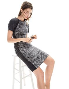 J.Crew women's colorblock dress. Semi fitted. Tweed. Wool.
