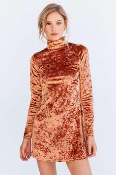Kimchi Blue Crushed Velvet Mock-Neck Mini Dress - Urban Outfitters
