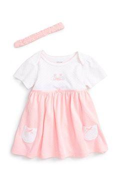 Little Me 'Bunny' Skirted Bodysuit & Headband Set (Baby Girls)