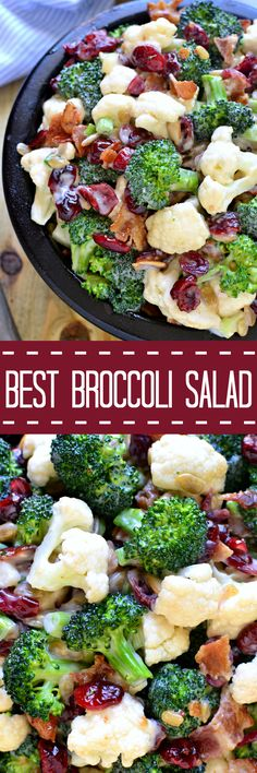 The BEST Broccoli Salad recipe - loaded with fresh broccoli cauliflower green onions bacon sunflower seeds dried cranberries and a lightened up honey mustard dressing. This salad is perfect for summer cookouts and picnics - a definite crowd pleaser! Best Broccoli Salad Recipe, Broccoli Cauliflower Salad, Fresh Broccoli, Broccoli Florets, Broccoli Salads, Healthy Brocolli Salad, Brocolli Salad With Bacon, Best Coleslaw Recipe, Vegetarian