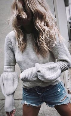 knit+and+denim+_+sweater+++shorts
