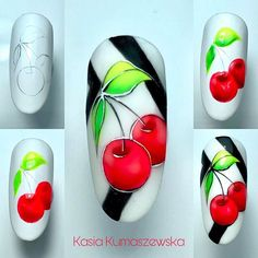 Crazy Nail Art, Crazy Nails, Cute Nail Art, Cute Nails, Nail Art Fruit, Cherry Nail Art, Fruit Nail Designs, Nail Art Designs, Nail Art Original