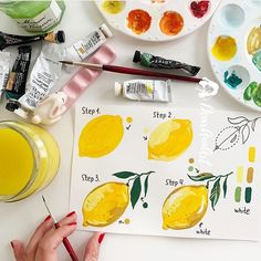 As we hang on tightly to the remnants of summer, here's a cute lemon tutorial for you from @dearannart! I just bought a deep teal dress with a bright lemon print (you might have seen it in my weekend Stories) and I'm planning to LIVE IN IT until the end of September 😂😎 . . . . . #paintingtutorial #gouache #watercolor #painting #gouachepainting #gouachetutorial #watercolortutorial #watercolorpractice #gouachepractice #watercolorexercise #watercolor101 Food Art Painting, Lemon Painting, Lemon Watercolor, Fruit Painting, Yellow Painting, Watercolour, Watercolor Art Diy, Yellow Art, Watercolor Paintings For Beginners