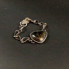 Metallic Stone Bracelet with Sterling Silver Links, Gemstone Chain Bracelet, Handmade by Shillyshallyjewelry by ShillyShallyjewelry on Etsy
