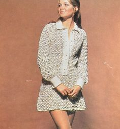 Womens crochet mini shirt dress pattern vintage crocheted dress pdf INSTANT download pattern only 1970s