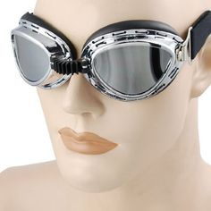 Vintage Style Military WWII RAF Pilot Mini Chrome Plated Frame Reflective Lens Elastic Strap Padded Frost Free Unisex Men Women UV Goggles For Motorcycle BMX ATV Dirt Bike Biker Helmet Decoration Ice Ski Snowboard Cross Country Skiing by Astra Depot. $9.99