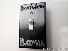 BATMAN and Bruce Wayne Light Switch Plate // By day... by night... I wish I was daring enough to make this for Dave lol