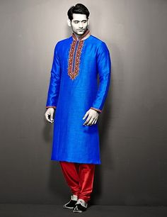 G3 exclusive blue silk wedding wear kurta suit Product Code: G3-MKS0439 Price: ₹ 4,795.00