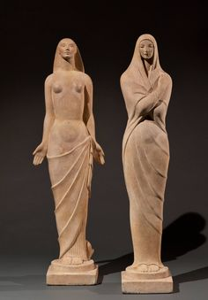 Seasons Suite: Winter and Spring | From a unique collection of figurative sculptures at https://www.1stdibs.com/art/sculptures/figurative-sculptures/