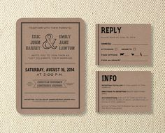 Printable Rustic Wedding Invitation Suite Reply by KitsonPress, $40.00