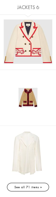"""""""JACKETS 6"""" by donnatellmeno ❤ liked on Polyvore featuring outerwear, jackets, embroidery jackets, silk jacket, button jacket, dragon embroidered jacket, double breasted jacket, embroidered jacket, gucci jacket and sequin jacket"""