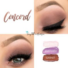 Concord Eye Trio uses three SeneGence ShadowSense: Pink Frost Shadowsense, Amethyst Shadowsense and Garnet shadowsense .  These cream to powder eyeshadows will last ALL DAY on your eye.  #shadowsense #eyeshadow
