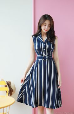 Pinstripe Belted Sleeveless Collared Dress Pinstripe Belted Sleeveless Collared Dress Korean Women S Fashion Shopping Mall Styleonme N Romantic Trendy Looks Styleonme Cute Dresses, Casual Dresses, Fashion Dresses, Women's Fashion, Cheap Fashion, Fashion Women, Korean Fashion Trends, Korean Street Fashion, Frock Design