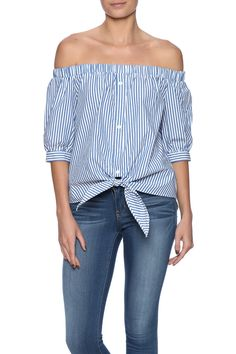 Stripe printed button down top with short off the shoulder sleeves, elastic bust line and awaist tie.   Waist Tie Button Down by Do & Be. Clothing - Tops - Button Down Clothing - Tops - Short Sleeve New York City Manhattan, New York City