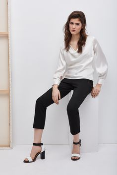 Blusa de seda con escote cascada   Adolfo Dominguez shop online