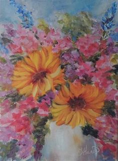 545 best pretty paintings sunflowers images on pinterest in 2018 sunflowers pretty pink purple blue flowers in white vase oil painting mightylinksfo