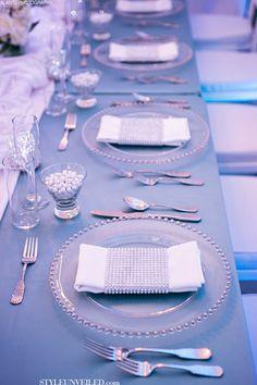Style Unveiled - Style Unveiled   A Wedding Blog - Elegant White and Blue Wedding TablescapeIdeas!