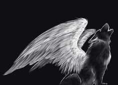 Black and White Mystical/Fantasy Howling Wolf Drawing with Wings Outline tattoo