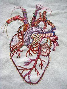 sewn together