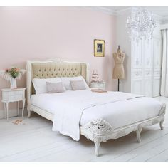 NEW! Provencal Velvet Upholstered Bed  |  French Beds  |  Beds & Mattresses  |  French Bedroom Company