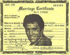 Elvis Aaron Presley and Priscilla Ann Beaulieu Marriage Certificate May 1967 King Elvis Presley, Elvis And Priscilla, Elvis Presley Photos, Priscilla Presley, Wedding Certificate, Marriage Certificate, Elvis Wedding, Wedding Pics, Aladdin