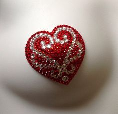 Valentine's Day Red and Crystal Heart Nouveau by ManugeEtToi