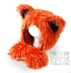 Handmade Crochet Fuzzy Fox Animal Hat for boys and girls of all ages www.irarott.com